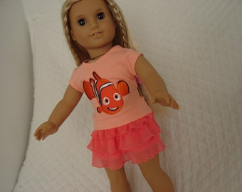 "REDUCED Finding Nemo T-Shirt and Ruffled Skirt for 18"" Dolls American Girl Doll Clothes"