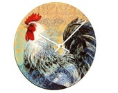 "SILENT 9"" Colorful Rooster Wall Clock, Boho Rooster Clock, Ceramic Plate Clock, Unique Wall Decor, Kitchen Clock, Country Rustic Clock  1946"