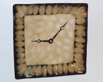 Stoneware Plate Wall Clock. SILENT, 8 Inch Clock, Kitchen Clock, Home Decor, Wall Decor, Unique Wall Clock, Brown and Tan Decor - 1312