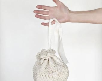 Nicolette Wedding Purse Flower Girl Bridesmaid Ivory Hand Knit Cotton/Linen Lace