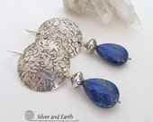 Sterling Silver Lapis Earrings, Blue Lapis Lazuli Jewelry, Sterling Silver Earrings, Unique Handmade Silver Jewelry, Blue Gemstone Earrings