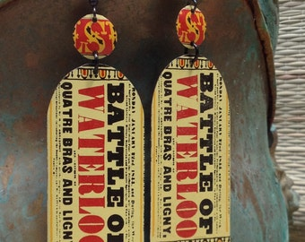Battle of Waterloo Upcycled Tin Earrings by Antonette Cely