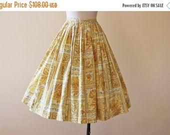 ON SALE 50s Skirt - Vintage 1950s Skirt - Novelty Print French Words Butterflies Mustard Cotton Full Skirt XS - Papillon