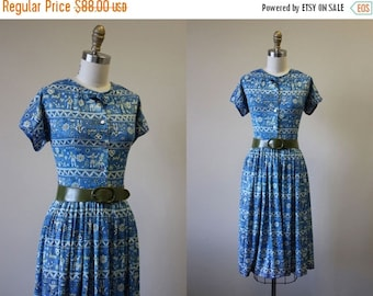 ON SALE 50s Dress - Vintage 1950s Novelty Dress - Blue Olive Scandinavian Print Jersey Full Skirt Dress S - The Little Friend Dress