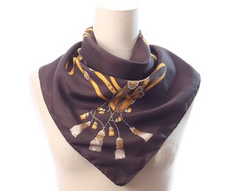 Brown  GOLD SILK Scarf 70s  Printed Classic Equestrian Prints Royal Small Square Kerchief Tassels Print Boho Hand Rolled Edges Gift Idea