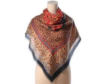 Large Bohemian Shawl Wrap LEOPARD Print Boho Gipsy Wool Like Oriental Print Hippie Festival Red Beige Black Extra Large Nomad Scarf 46 inch