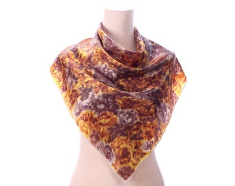 RUSTIC Vintage Scarf 70s Floral Satin Printed Beige Brown Yellow Boho 1970s Secretary Mad Men Neck Scarf Womens Moms Gift
