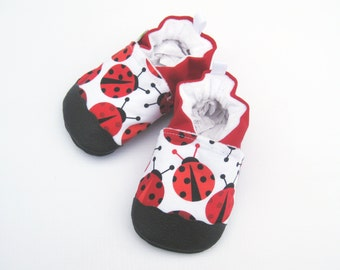 Classic Vegan Big Red Ladybug / Non-slip Soft Sole Shoes / Made to Order / Babies Toddlers Preschool