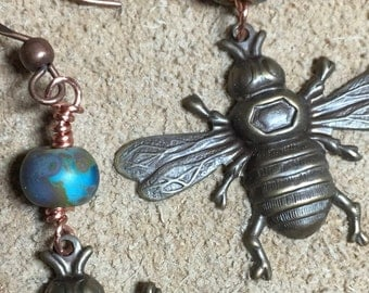 Impossible Flight - Brass Bee Dangle Earrings with aqua beads
