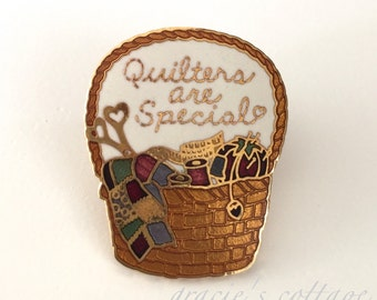Quilters Are Special Vintage Lapel Pin 1984 Enamel Quilt Gift