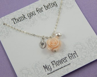 Flower Girl Necklace,Personalized hand stamped leaf, Flower Girl Gift Junior Bridesmaids,Flower Girl Thank You, Flower Girl Jewelry