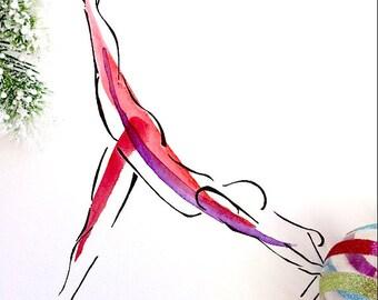 Arabesque on the Reformer   Pilates Art Print, Pilates Gift, Pilates Studio Decor, Inspiration Art, Gifts, Pilates Inspiration