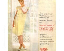 1960 DuPont Dacron Vintage Ad, 1960's Fashion, Advertising Art, Batiste Lingerie, 1960's Housewife, Vintage Fabric, Great for Framing.
