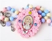 RESERVED for Vexic929 - Howl Cameo Necklace, Fairy Kei Necklace, Pastel Necklace, Decoden Necklace, Kawaii Jewelry, Anime Jewelry, OOAK