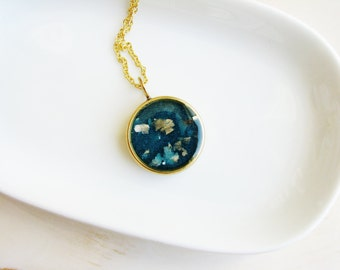 Geology Inspired Necklace, Teal Necklace, Blue Necklace, Mica Necklace, Minimalist Jewelry, Resin Jewelry