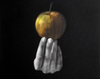 "Original art print ""The Apple"". Central part of the triptych. Mezzotint with Chine Colle. Edition of 100."