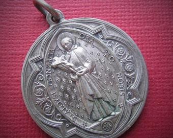 Saint Aloysius Guardian Angel French Gothic Antique Religious Medal Catholic Pendant Signed Penin  SS70