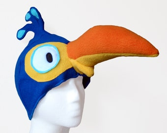 Dodo Hat. Blue Cartoon Bird, Silly.