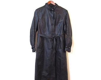 BTS SALE Vintage 70s ESPRESSO Brown Leather Steampunk Trench Coat xs s m