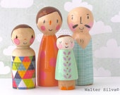 Doodle Peg Dolls by Walter Silva - Modern trendy Toys - Handmade toys - Natural Toy trends