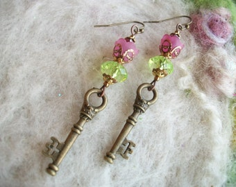Victorian Key Earrings, Lucite Flower Beads with Bronze Key Charm, Handmade Delicate Vintage Style