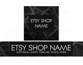 Etsy Shop Banners - Etsy Banners - Black Etsy Shop Banner - Geometric Etsy Shop Banners - Etsy Banner Sets - 2 Piece - 3-16