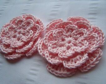Flower crochet motif 3 inch cotton set of 2 light pink