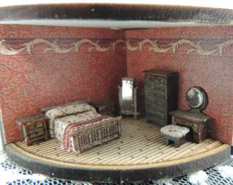 Dollhouse miniature 144th scale bedroom kit