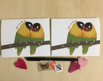 Love Is In the Air - Valentine's Day Notecards - Love Birds