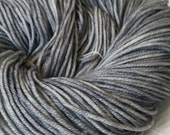 Silver Hand Dyed Worsted Weight Yarn Pieces of Eight Gray Grey Hand Painted yarn 218 yards Superwash Merino Wool treasure goddess