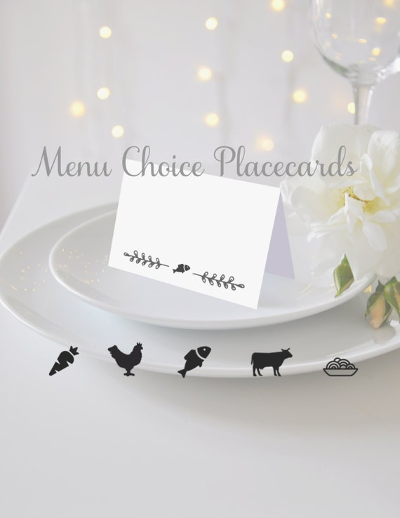 Blank Entree Choice Placecards Weddings Menu Symbols