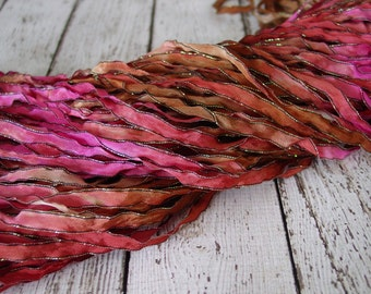 NEW Hand Dyed ribbon BRONZED ROUGE, dark shimmer edge, 5 yards