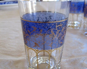 Set of 10 Small Glasses   Circa 1980s   Blue Gold
