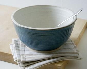 Handmade stoneware fruit bowl - wheel thrown bowl in smokey blue and vanilla cream