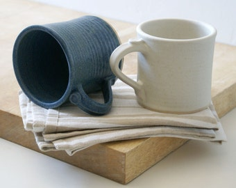 Two straight sided mugs - hand thrown stoneware in vanilla cream and smokey blue