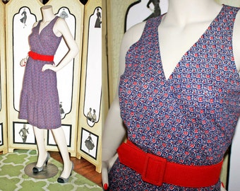 Vintage 1970's Navy Floral Sundress with Surplice Bodice and Hem Ruffle by JT Dress Co. of California. Medium.