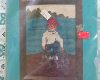 Wonderful Vintage Boy Fishing Needlepoint KIt