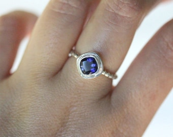 Genuine Iolite Sterling Silver Ring, Gemstone Ring, Cushion Shape Ring, Eco Friendly, Engagement Ring, Stacking Ring - Made To Order