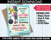 Bowling Invitations - Pink Bowling Party - Bowling Birthday - Editable Text - Instant Download PDF Printable