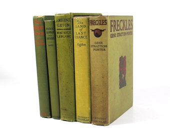 Set of 5 Vintage Books - Avocado Green - Early 1900's Cloth Hardcover