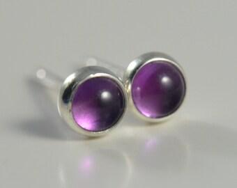 amethyst 3mm sterling silver stud earrings pair