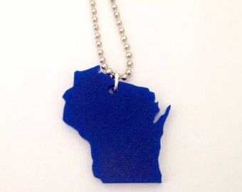 Blue Wisconsin Necklace - Lasercut Acrylic State Jewelry