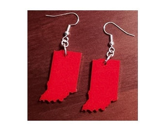Indiana Shape Earrings in Cherry Red Acrylic Plastic, State Jewelry, Lasercut Earrings
