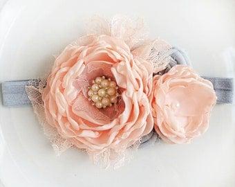 Peach and gray flower headband