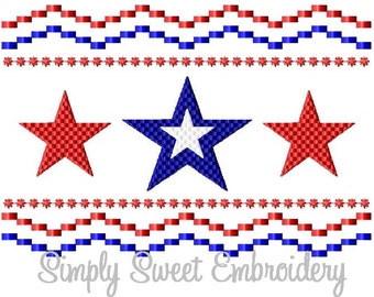 Three Stars Faux Smocking Machine Embroidery Design