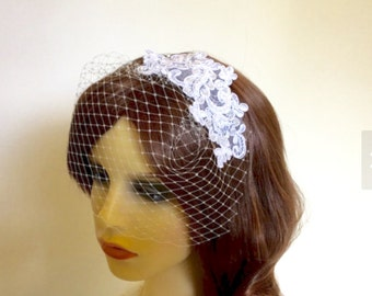 Ivory beaded lace embroidered bridal birdcage veil.