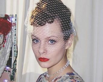 Bandeau veil - Ivory bandeau veil - Bridal birdcage veil - UK - Many colours.