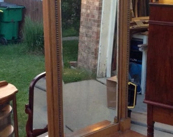 Antique Oak Hall Tree Tall Ornate Pier Mirror With Shelf 24x86 Shipping is Not free