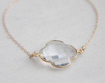 Clover Necklace - Clear Crystal Bezel