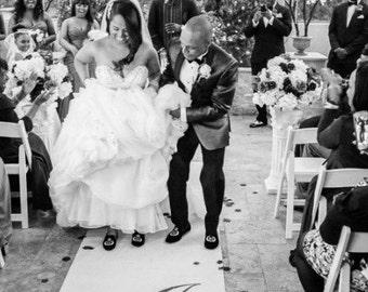 Wedding Monogram Aisle Runner White Ceremony Decor Runner Isle Runner Wedding Decor Custom Hand Painted Personalized